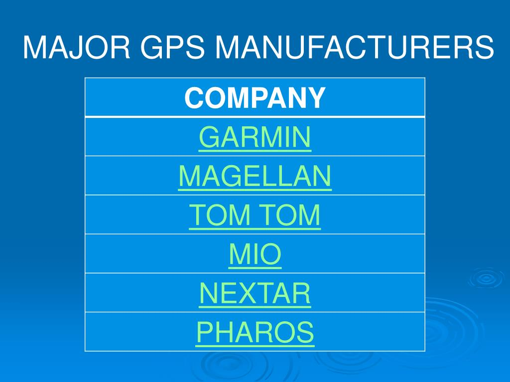 MAJOR GPS MANUFACTURERS