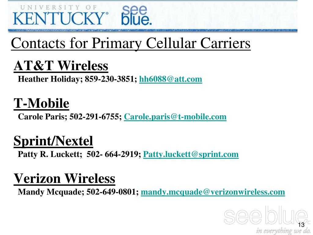 Contacts for Primary Cellular Carriers