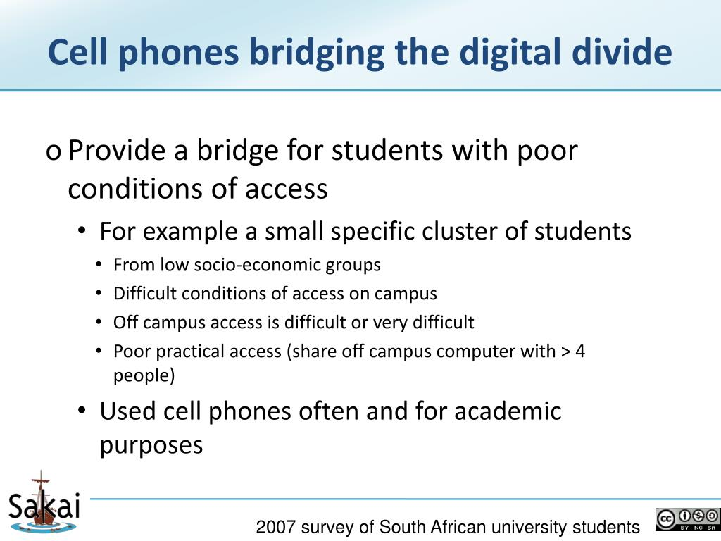 Cell phones bridging the digital divide