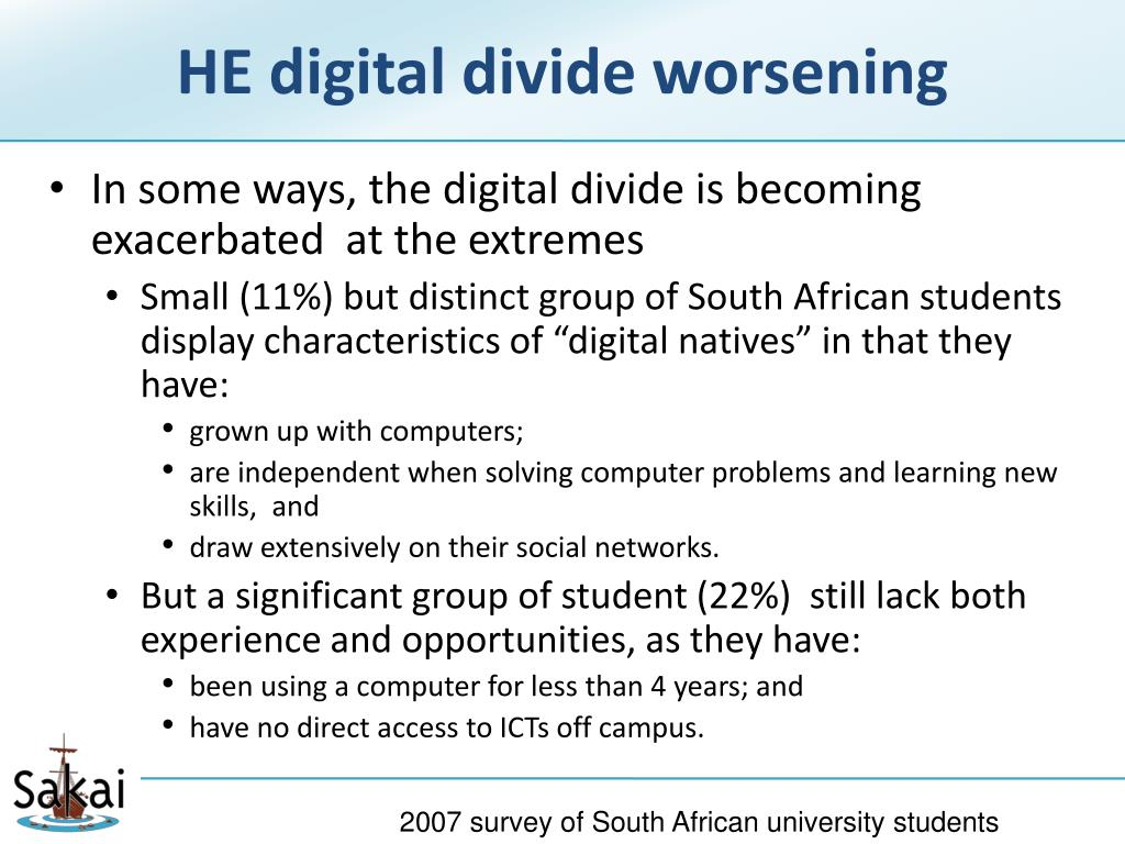 HE digital divide worsening