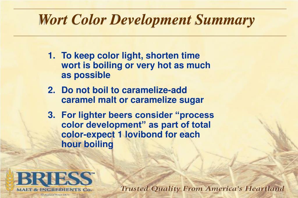 Wort Color Development Summary