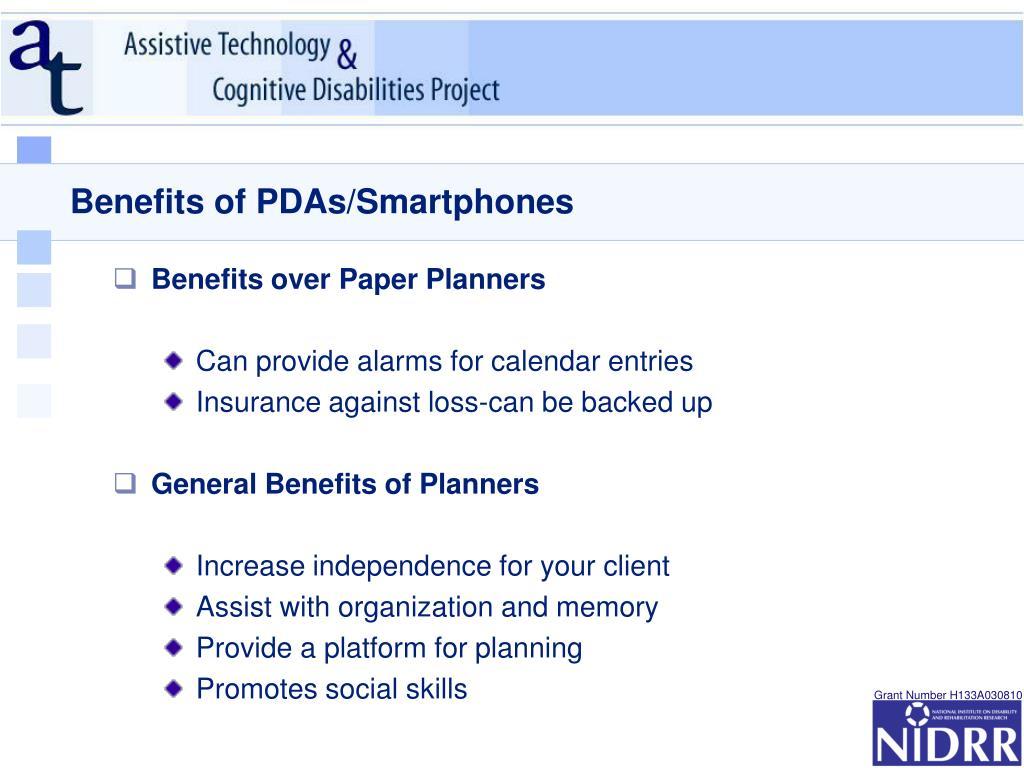 Benefits of PDAs/Smartphones