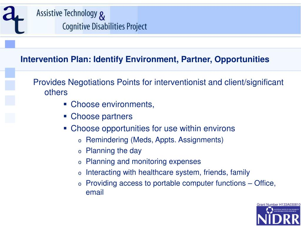 Intervention Plan: Identify Environment, Partner, Opportunities