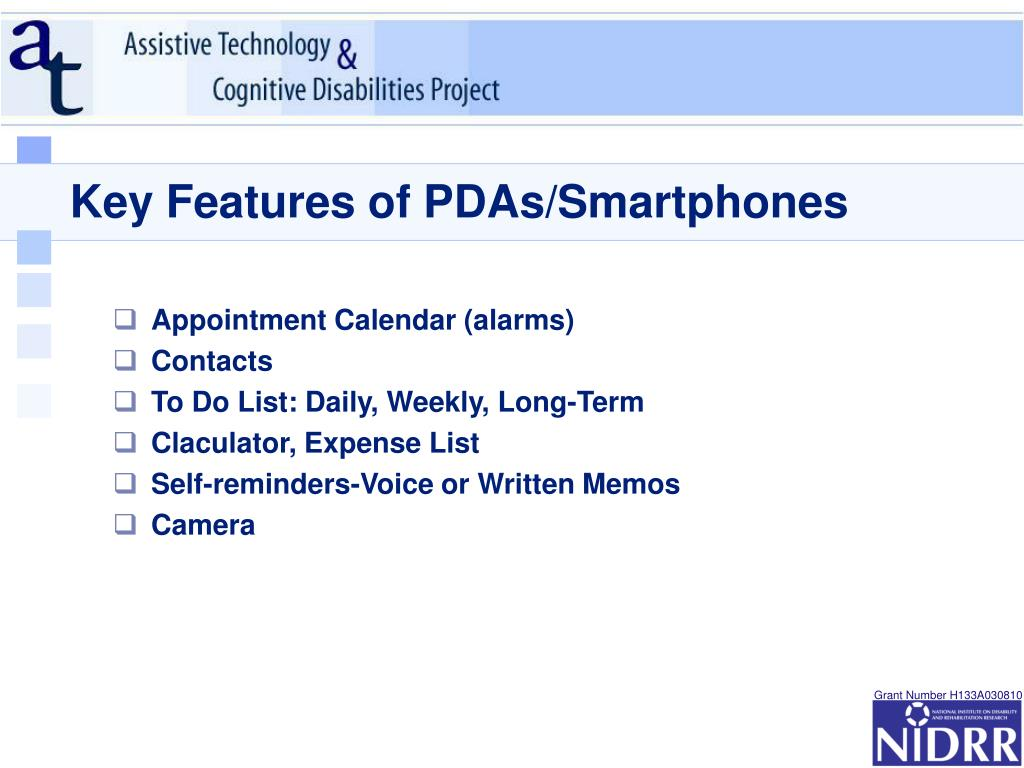 Key Features of PDAs/Smartphones