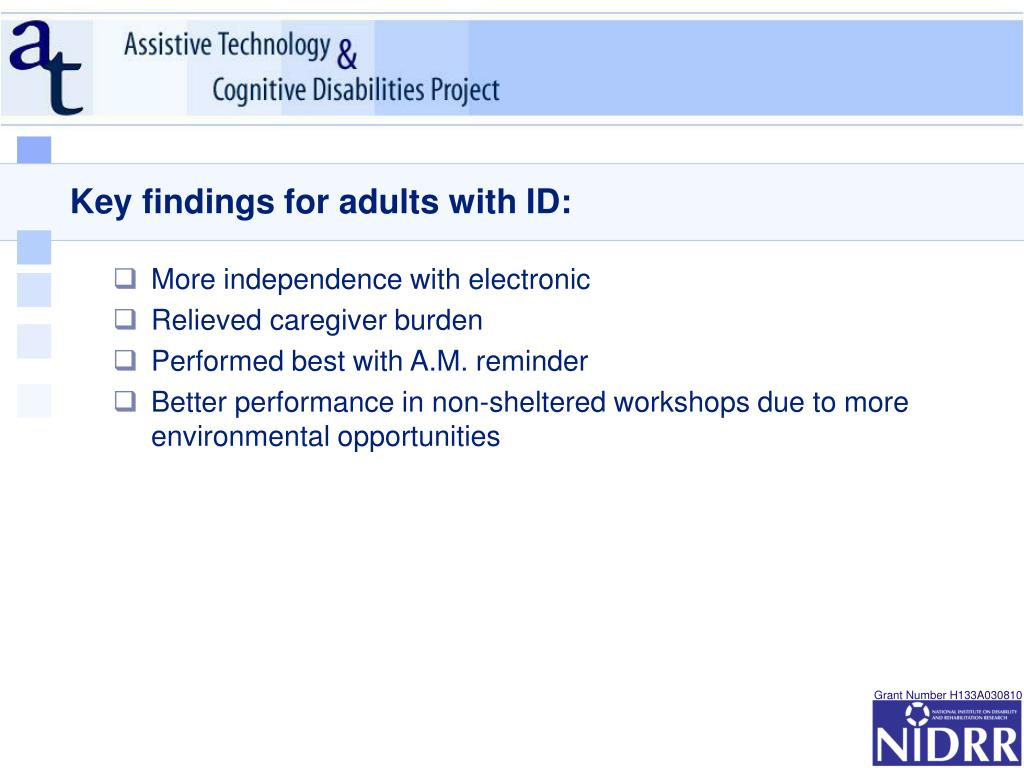 Key findings for adults with ID: