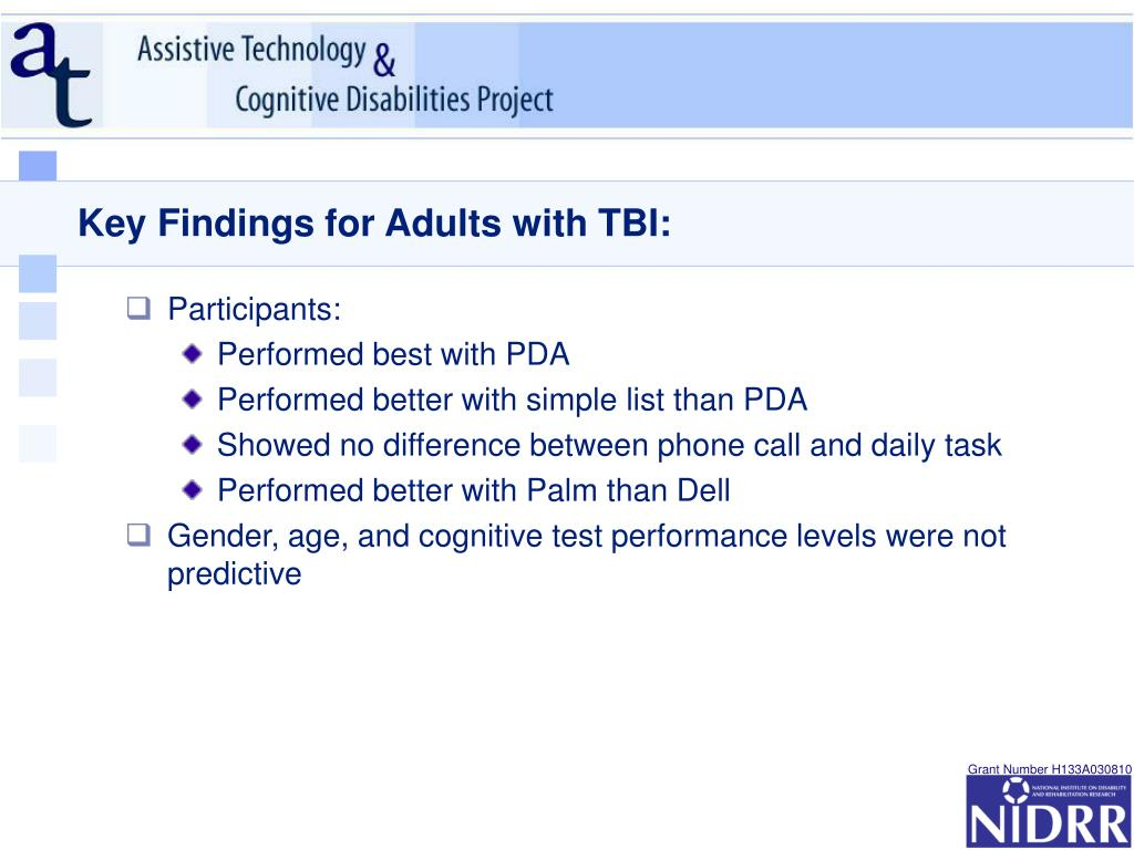 Key Findings for Adults with TBI: