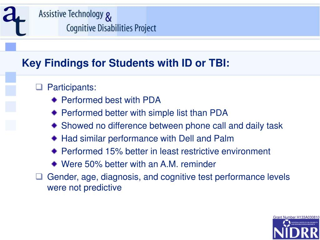 Key Findings for Students with ID or TBI: