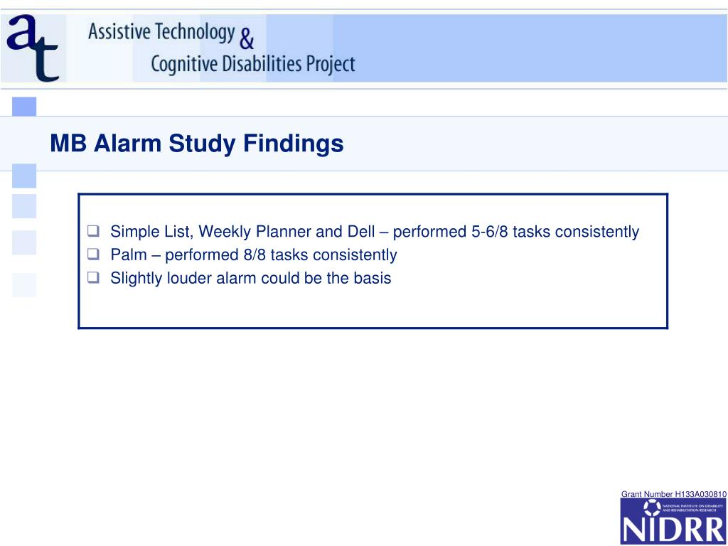 MB Alarm Study Findings
