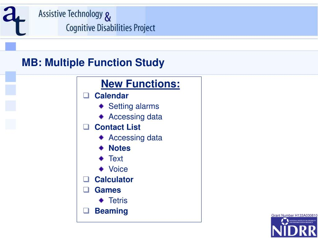 MB: Multiple Function Study