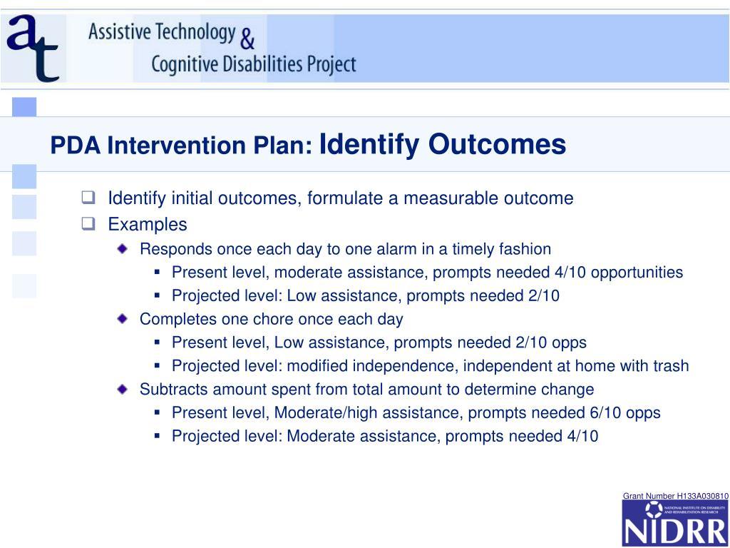 PDA Intervention Plan: