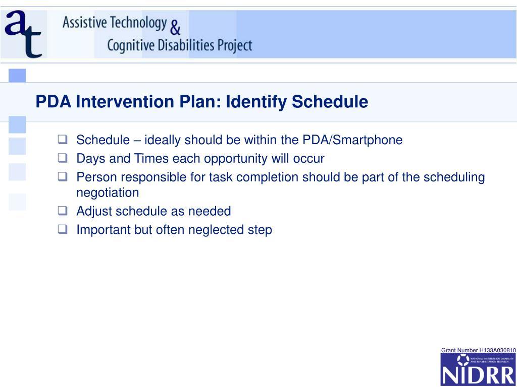 PDA Intervention Plan: Identify Schedule