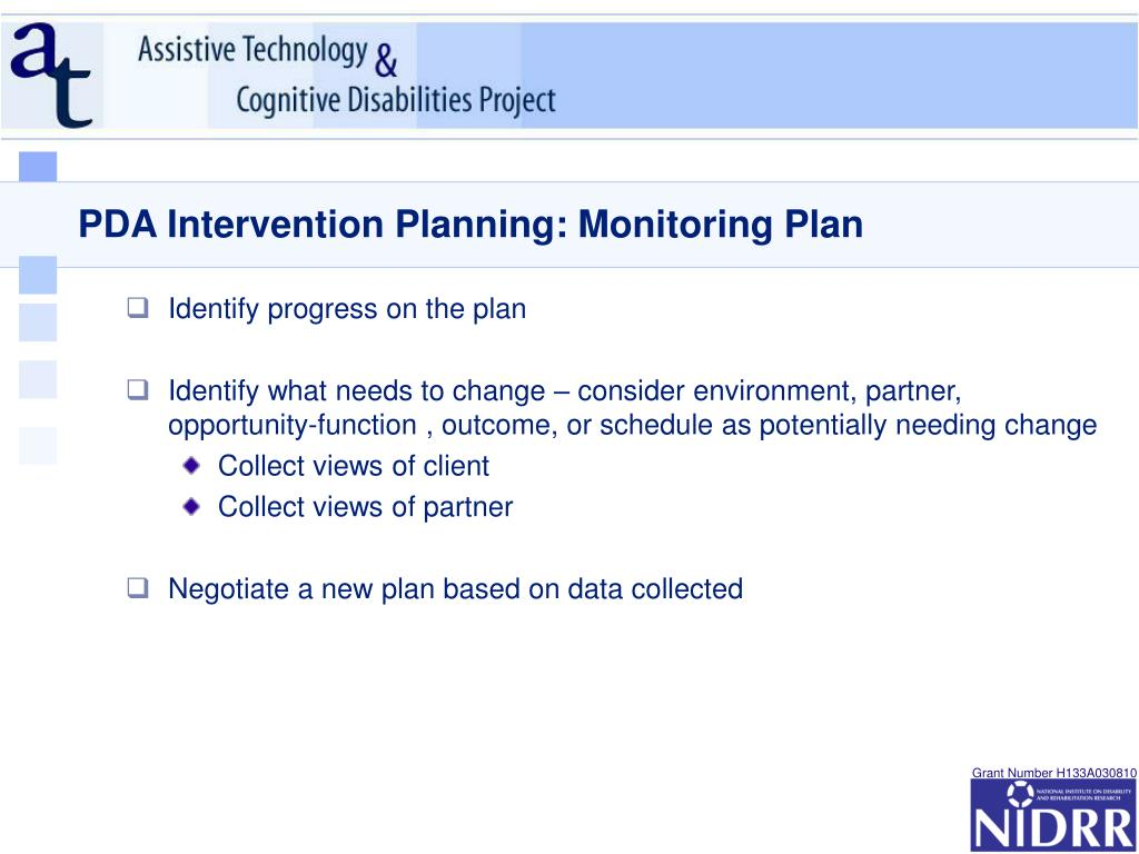 PDA Intervention Planning: Monitoring Plan