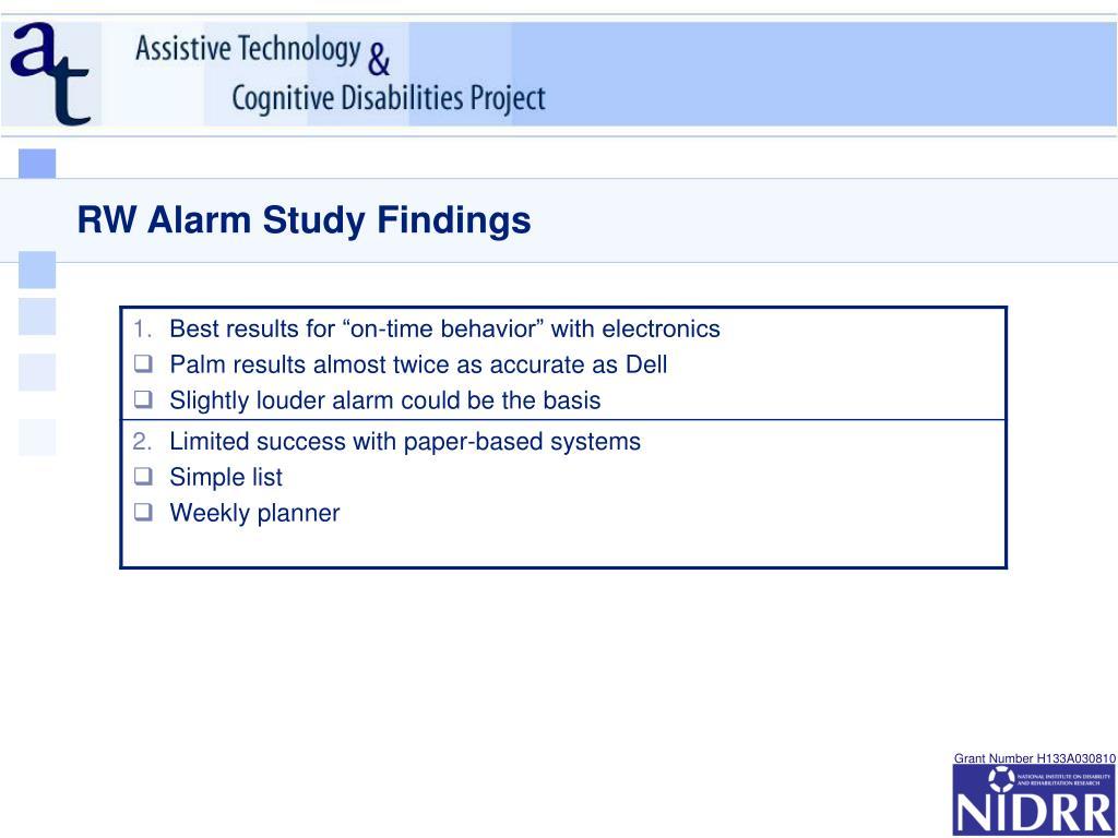 RW Alarm Study Findings