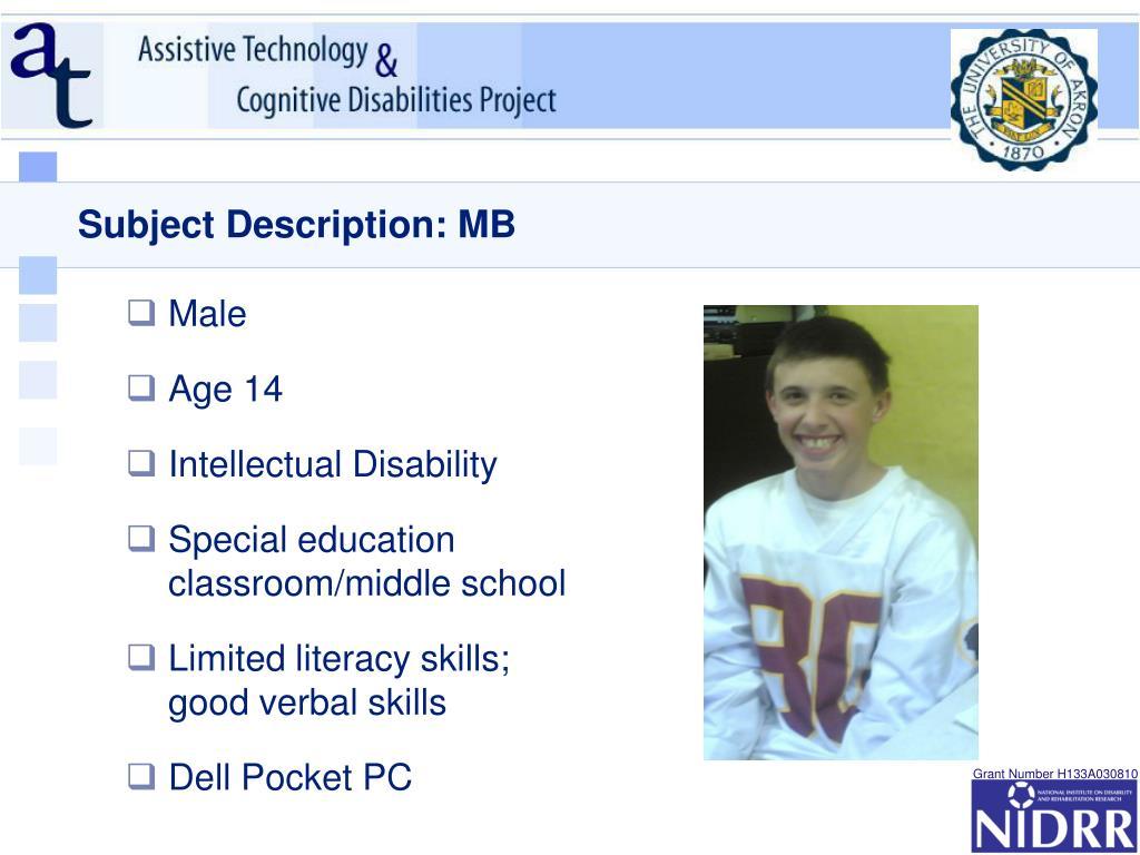 Subject Description: MB