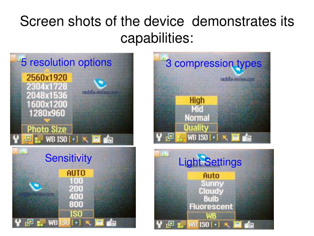 Screen shots of the device  demonstrates its capabilities: