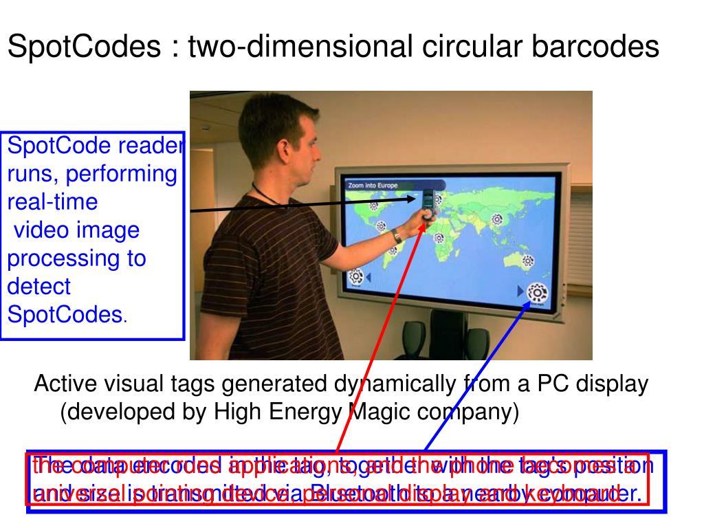 SpotCodes : two-dimensional circular barcodes
