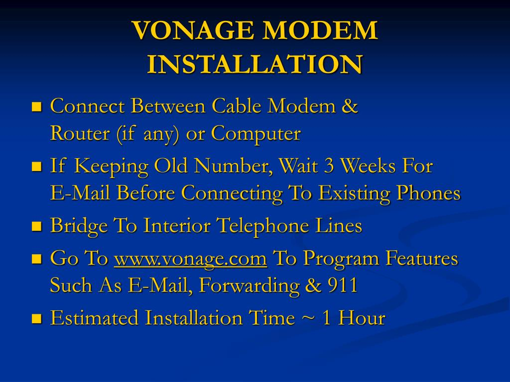 VONAGE MODEM INSTALLATION