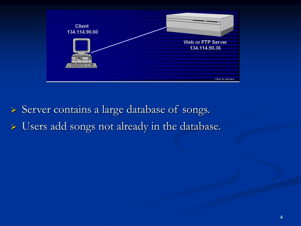 Server contains a large database of songs.