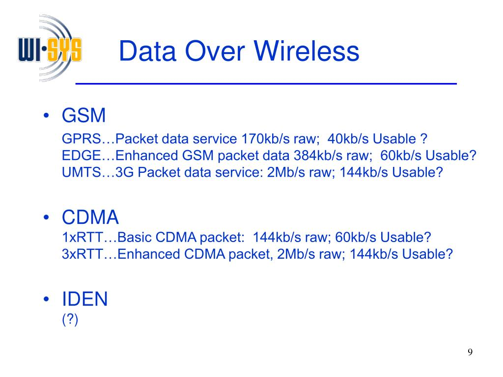 Data Over Wireless