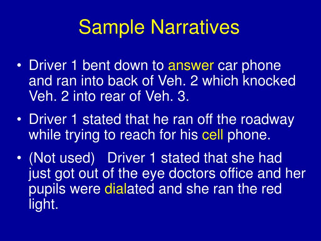 Sample Narratives