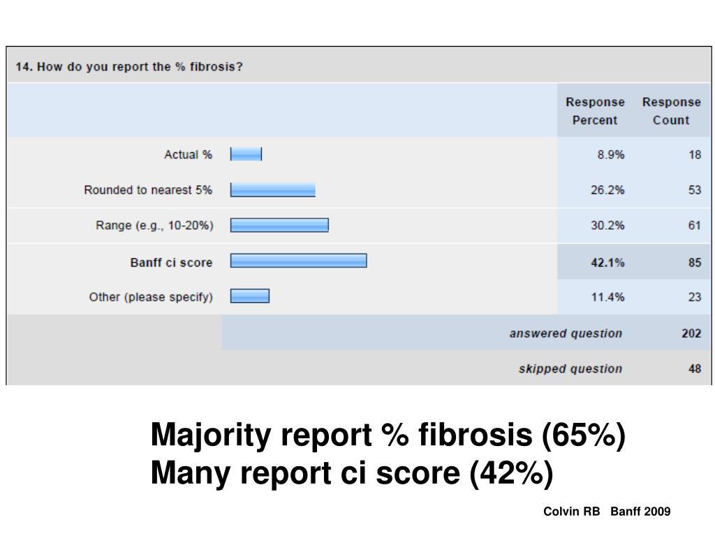 Majority report % fibrosis (65%)