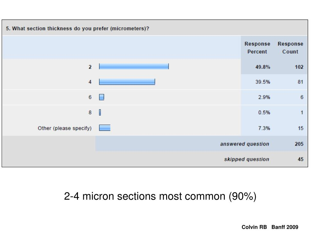 2-4 micron sections most common (90%)