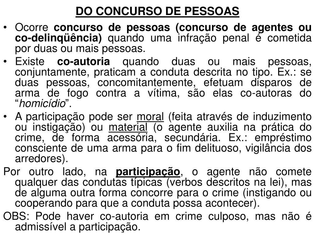 DO CONCURSO DE PESSOAS