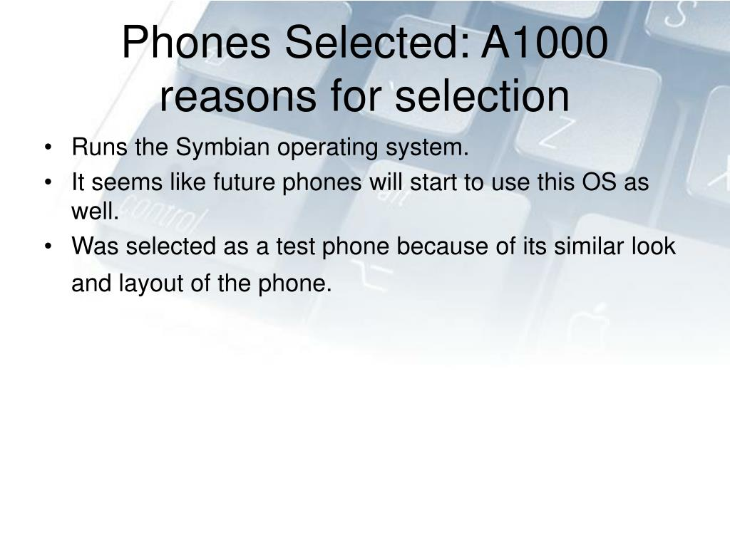Phones Selected: A1000
