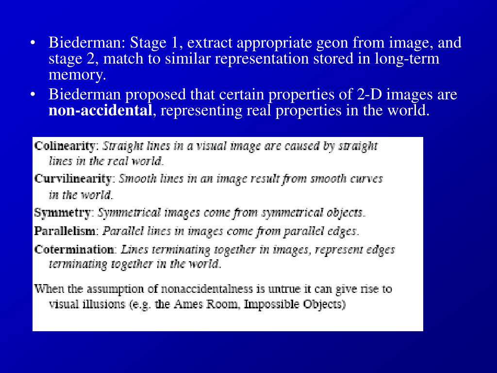 Biederman: Stage 1, extract appropriate geon from image, and stage 2, match to similar representation stored in long-term memory.