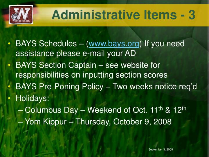 Administrative Items - 3