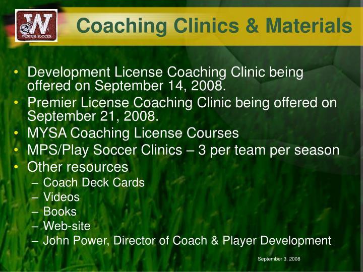 Coaching Clinics & Materials