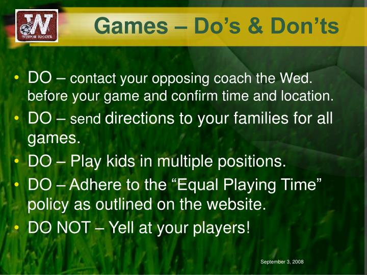 Games – Do's & Don'ts