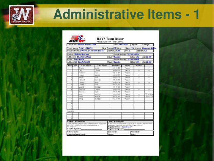 Administrative Items - 1