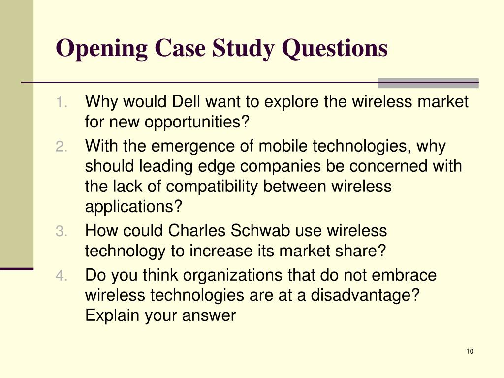 Opening Case Study Questions