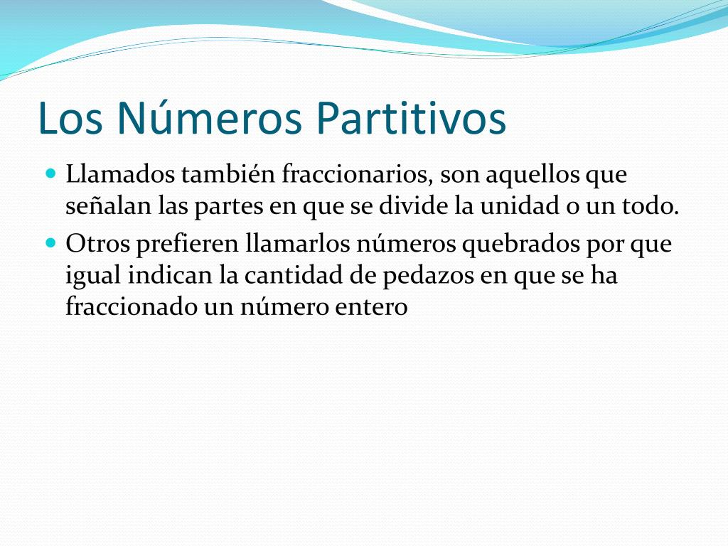 Los Números Partitivos