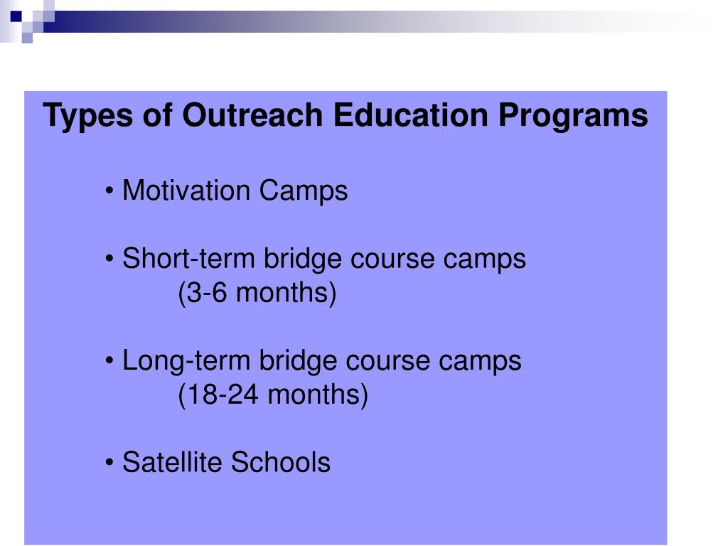Types of Outreach Education Programs