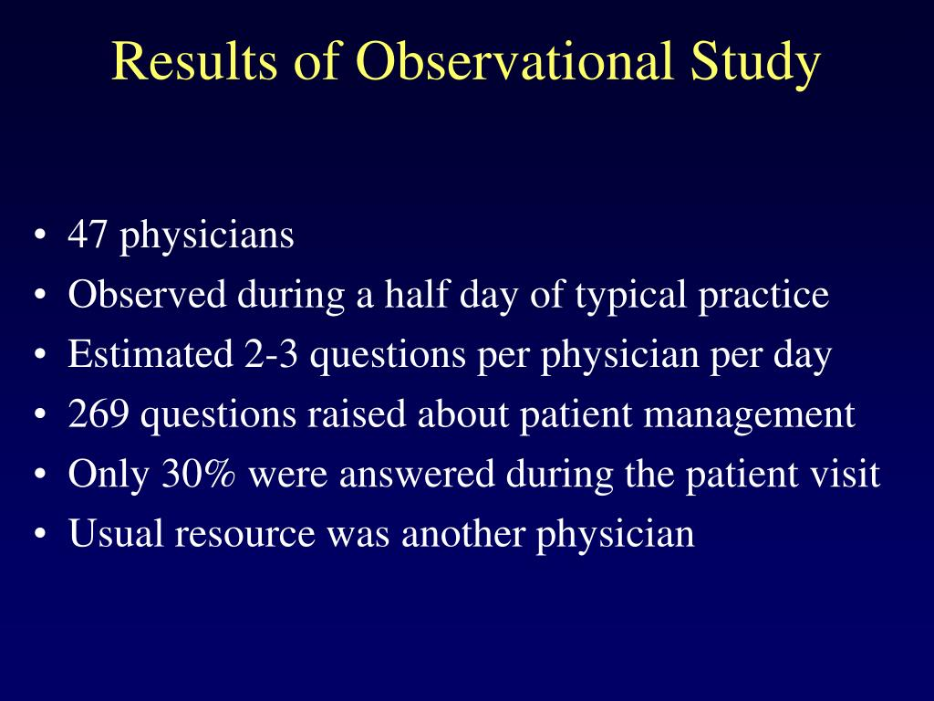 Results of Observational Study