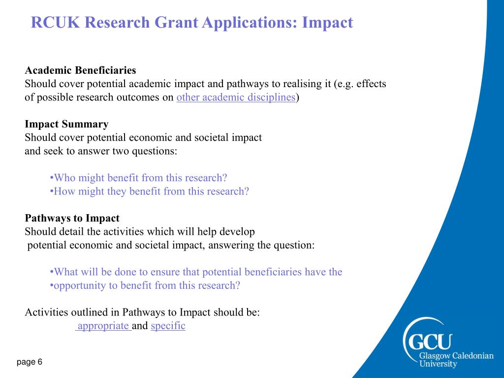 RCUK Research Grant Applications: Impact