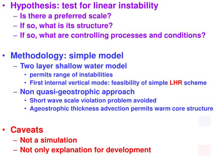 Hypothesis: test for linear instability