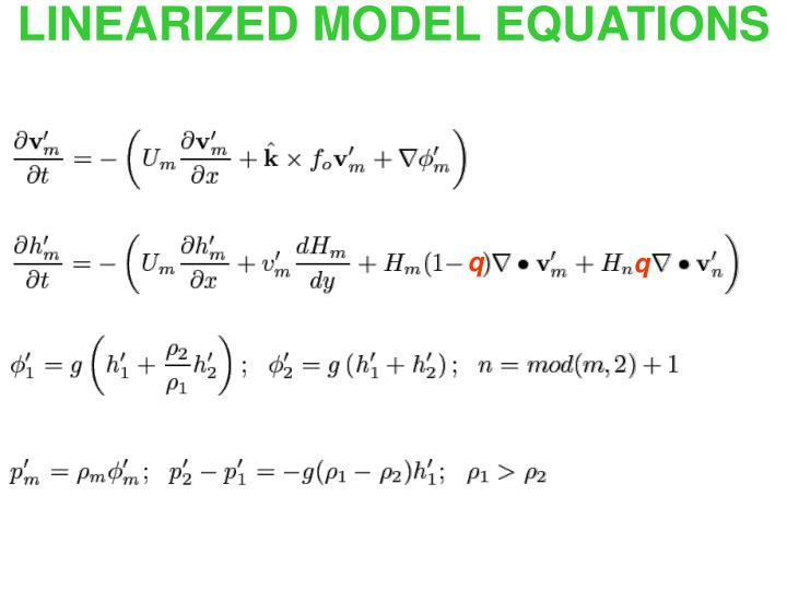 LINEARIZED MODEL EQUATIONS