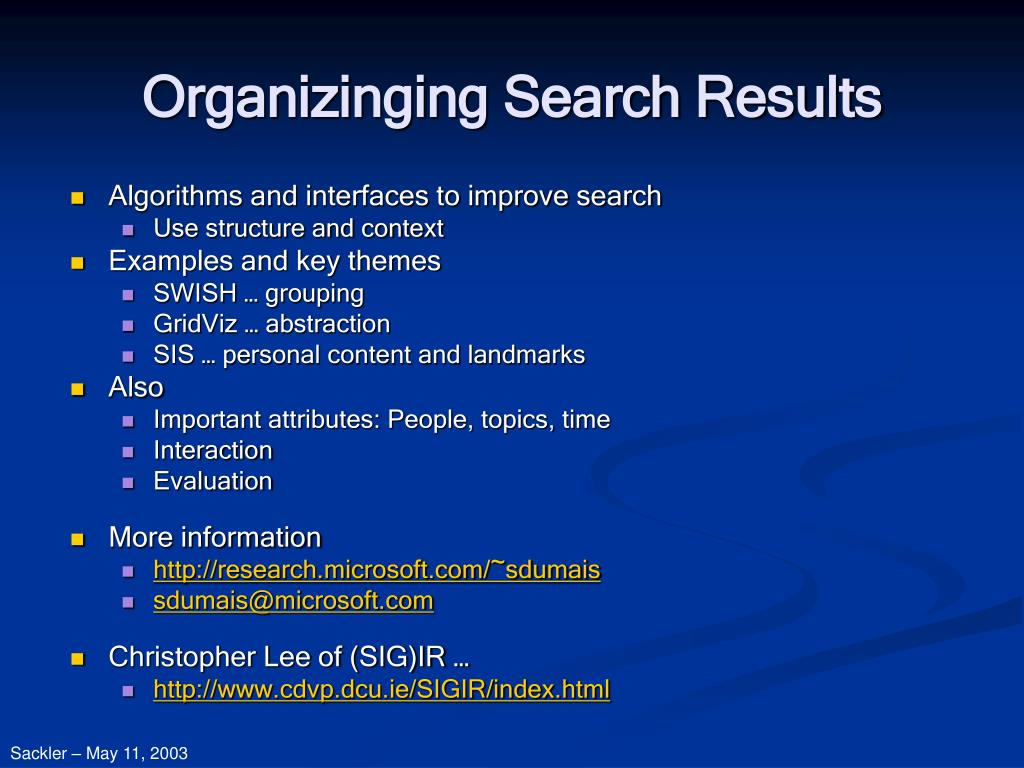 Organizinging Search Results