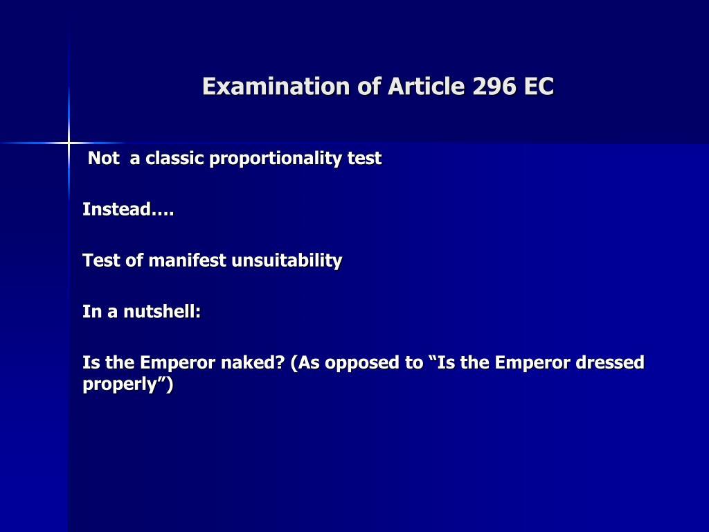 Examination of Article 296 EC