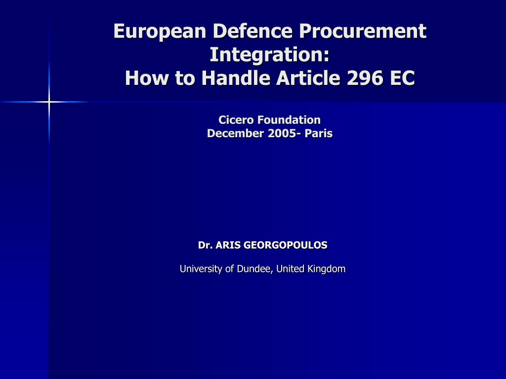 European Defence Procurement Integration: