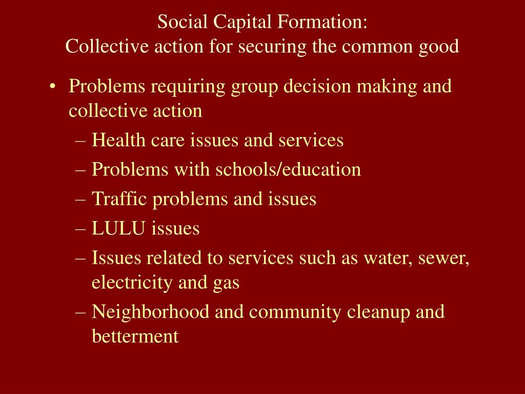 Social Capital Formation: