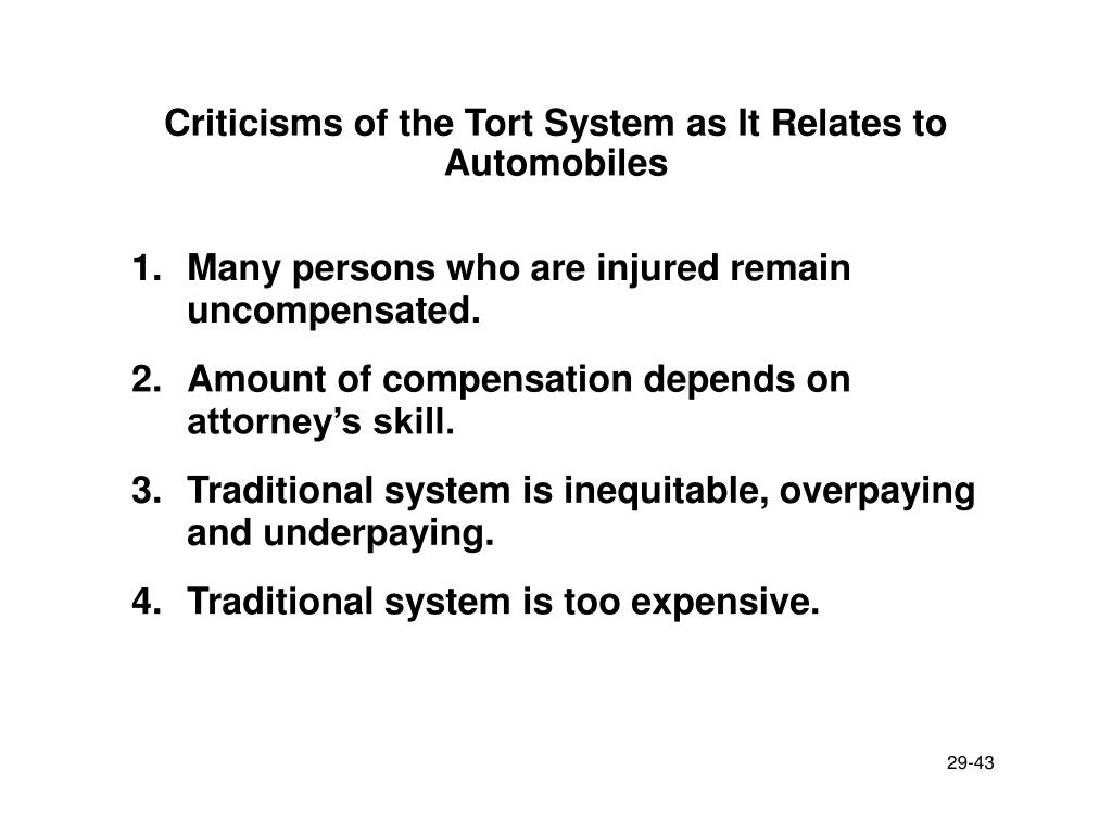 Criticisms of the Tort System as It Relates to Automobiles