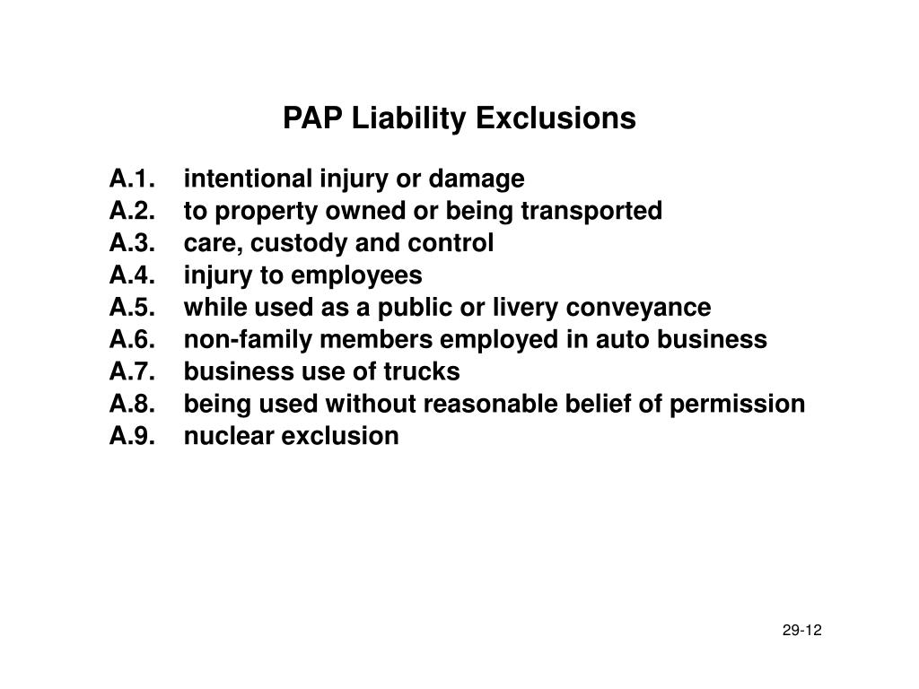 PAP Liability Exclusions
