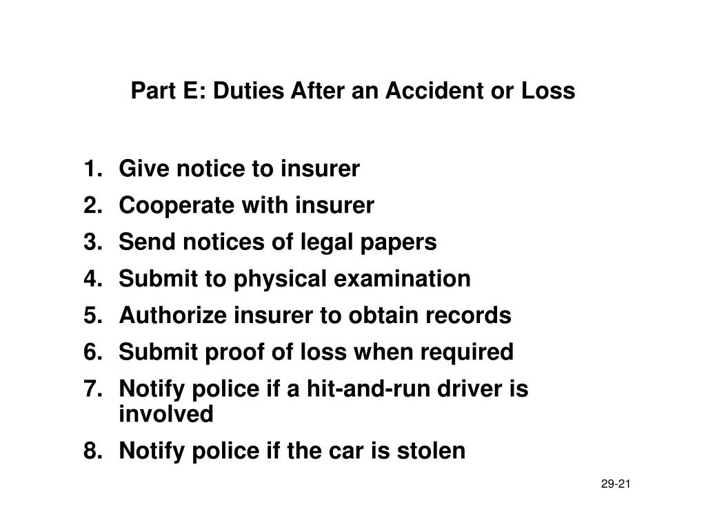 Part E: Duties After an Accident or Loss
