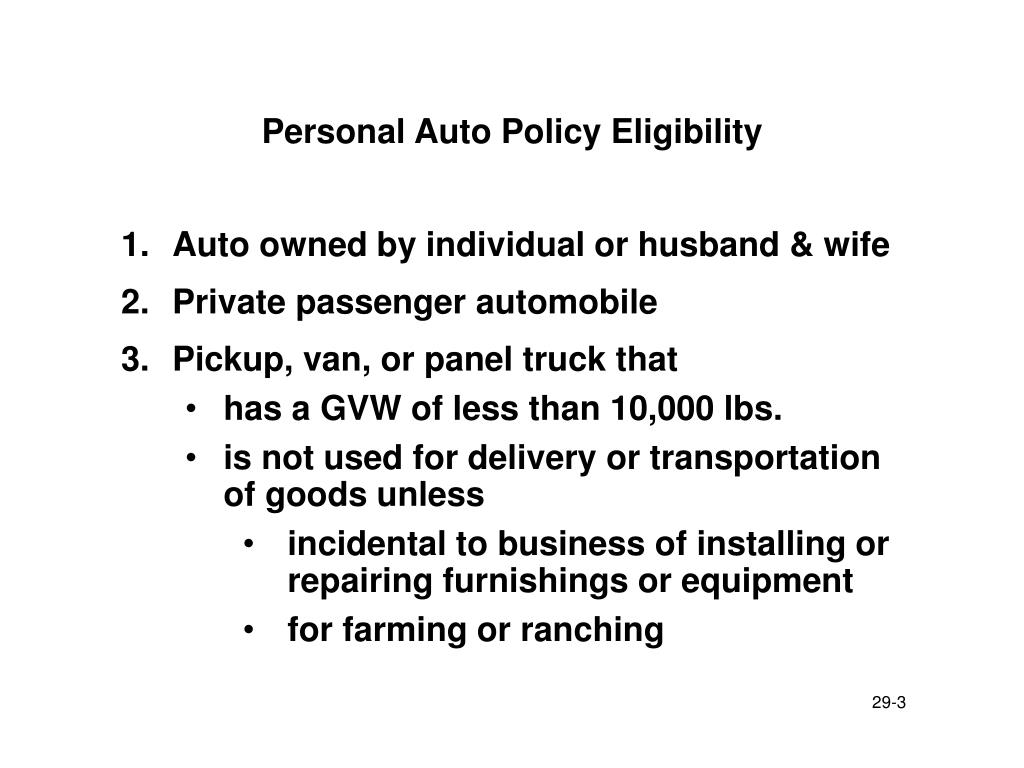 Personal Auto Policy Eligibility