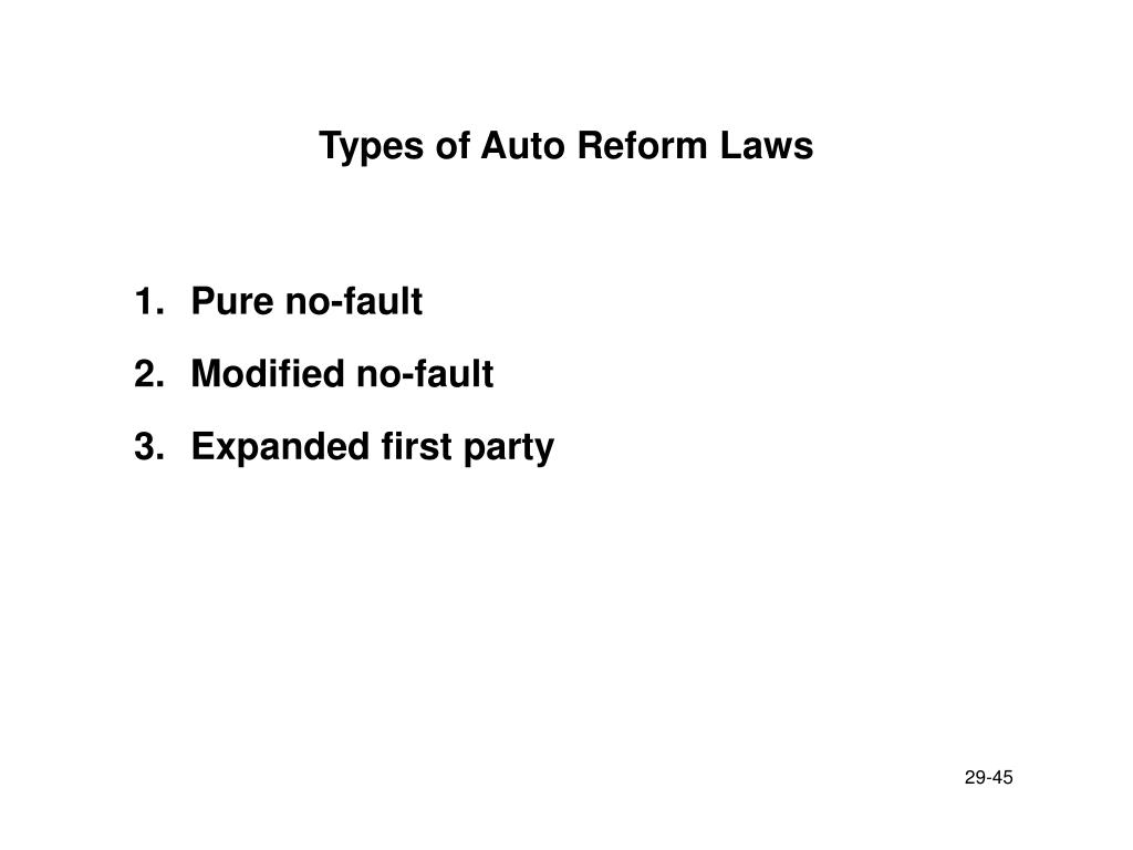 Types of Auto Reform Laws