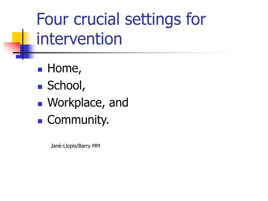 Four crucial settings for intervention